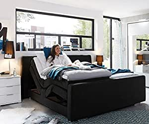 doppelbett hayo schwarz 180x200 cm mit motor boxspringbett. Black Bedroom Furniture Sets. Home Design Ideas