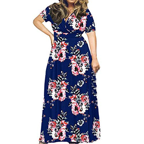 iYmitz Damen Übergröße Maxikleid Elegant V-Ausschnitt Kurzarm Kleider mit Blumen Pailletten Abend Party Netzkleid(X11-Dunkelblau,EU-54/CN-5XL) -