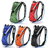 Black Hydration Pack Water Rucksack Backpack Cycling Bladder Bag Hiking Climbing Pouch(Hydration Bladder NOT Included)