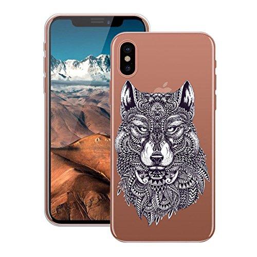 HB-Int Hülle für iPhone X Schutzhülle Transparent mit Mädchen Muster Etui Silikon Handyhülle Flexible Slim Case Cover Ultra Dünn Durchsichtige Handytasche Wolf