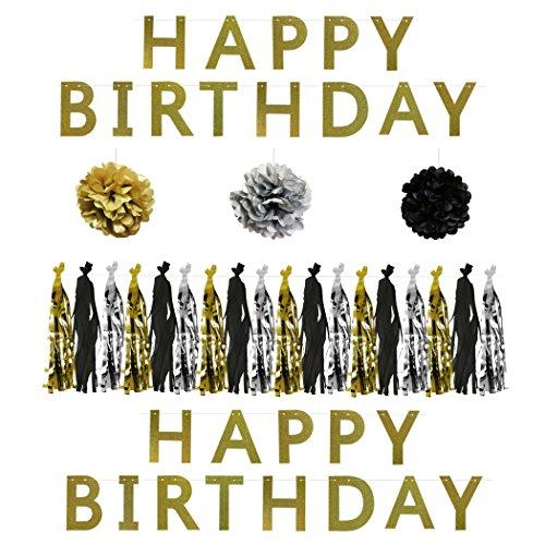 6-tlg. Schwarzes, Goldenes u. Silbernes Dekorations-Zubehör Set für Geburtstags-Partys von Belle Vous – 15,2cm Pom-Poms, Quasten-Girlande u. Glitzernde Happy-Birthday Geburtstags-Banner – Dekor Set