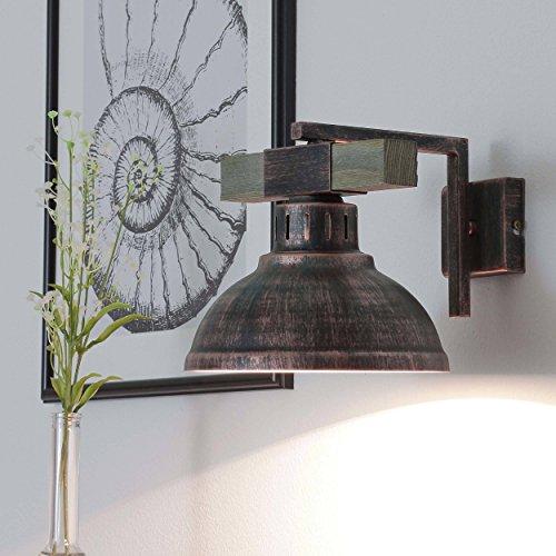 Wandleuchte Vintage / Kupfer Antik / 1x E27 bis zu 60W 230V / Leuchte Holz und Metall / Wandlampe Industrie / Retro Leuchten Esszimmer Küche Wohnzimmer Beleuchtung (Wandleuchte Kupfer Antike)