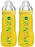 immagine prodotto MAM 950502 - Baby Bottle, Biberon da 330 ml con tettarella misura 3 (4+ mesi), confezione doppia, design neutrale (motivi assortiti)