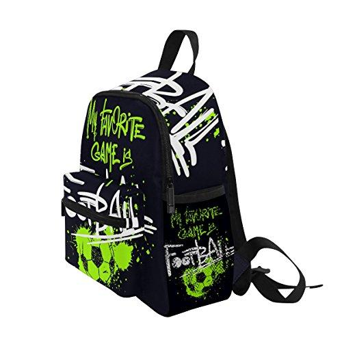 Jeansame Kids Backpack Children s Schoolbag Book Bag for Kindergarten Toddler Boys Girls Cute Vintage Football Game
