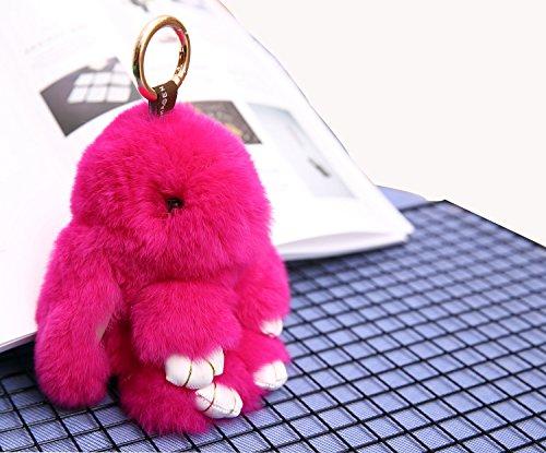 YISEVEN Damen Plüsch Kaninchen schlüsselanhänger Auto Schlüsselring Handtasche Taschenanhänger Zubehör Hase Puppe - Rose