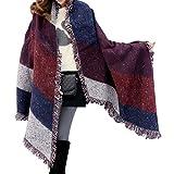 heekpek Women Large Oversized Scarf Pashmina Wrap Poncho Thick Style Scarf Patchwork Cape Shawl