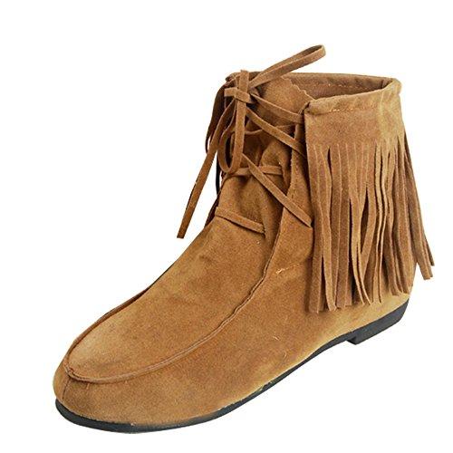 Gaorui Damen Kurzschaft Stiefel Stiefelletten Ankel Boots Schneestiefel mit TasselSchwarz Gelb