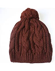 Qiaoba- Le couple féminin d'automne et d'hiver Chapeau à tricoter Boule de Nagymaros Chapeau à tricoter