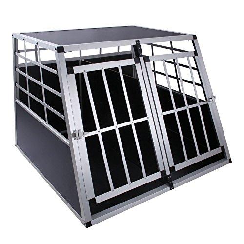 Hunde Transportbox mit Trennwand, 97 x 90 x 70 cm, Aluminium Autobox, DC3