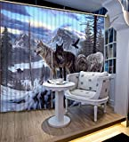Wapel 3D Vorhänge Schöne Foto Benutzerdefinierte Jeder Größe Blackout Vorhänge Für Schlafzimmer Tier Schneeberg Wolf Wölfe H245 * W280cm
