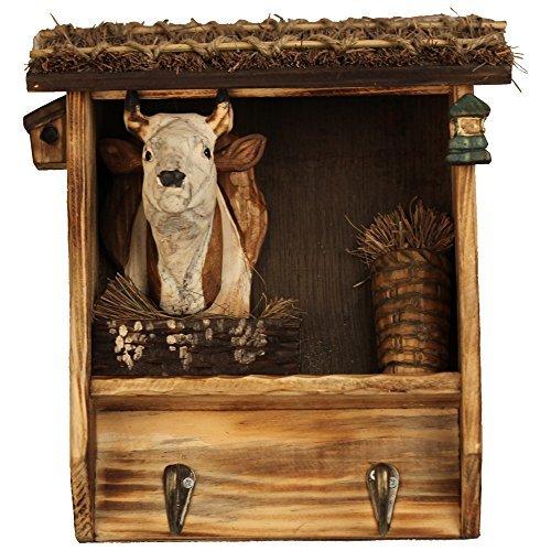 Double Coat Rack Haken (kuscheliges Stunde 25,4cm Farm Tiere handgeschnitzt aus Holz Double Coat Hooks Clothes Rack Dekorative Wand Aufhänger-Kuh)