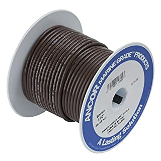 ANCOR 106210 Marine Grade Electrical Primary Tinned Copper Boat Wiring (12-Gauge, Brown, 100-Feet)