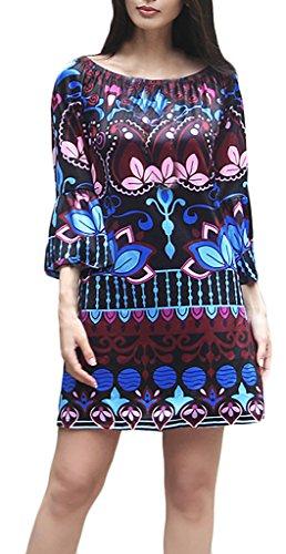 Frauen Druckkleider Minikleid Tunika Kleid Die Neue Kurz Dreiviertelarm Boot Hals Rückenfrei Trägerlos Blumendrucken Ethno-Style Loose Atmungsaktiv 2017 Dunkelblau
