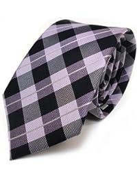 Mexx Seidenkrawatte lila violett silber schwarz kariert - Krawatte 100 % Seide Silk
