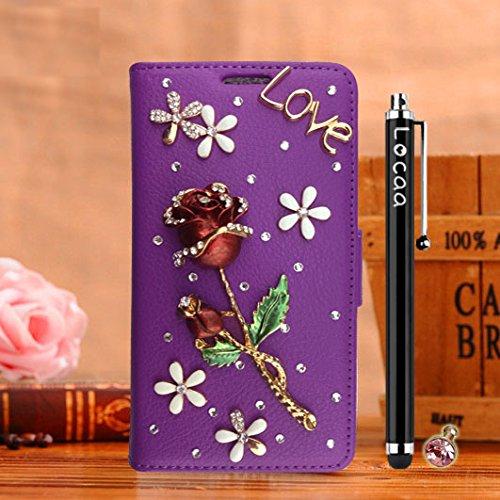 Locaa(TM) Pour Apple IPhone 7 Plus IPhone7+ (5.5 inch) 3D Bling Rose Case Coque Fait Love Cuir Qualité Housse Chocs Étui Couverture Protection Cover Shell Phone Nous [Rose 1] Blanc - Rose Bleu Violet - Rose Vin Rouge