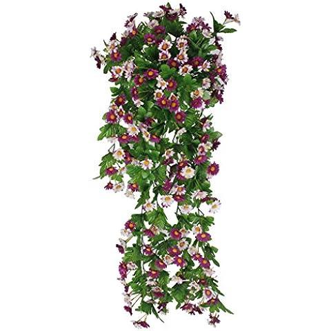 Vid de Flor Margarita Artificial Colgante Decoración para Boda Hogar - Blanca Púrpura