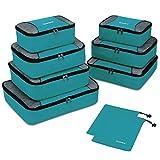 Gonex Organiseurs de Bagage Sacs Rangement de Valise Voyage 9 pcs Bleu-Vert