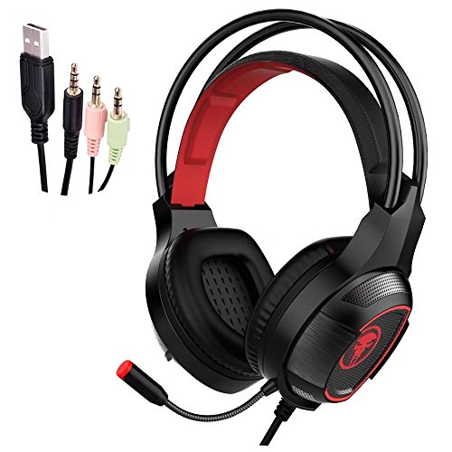 Gaming Headset, JIEJIEWYD Gaming Kopfhörer mit Mikrofon für Gaming Musik Chat PS4 PC Laptop Tablet Mobile - rot