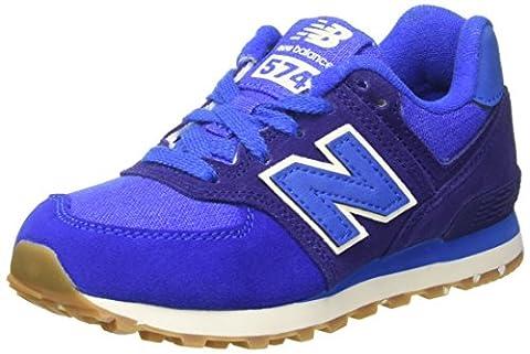 New Balance 574 Leather Mesh, Sneakers Basses Mixte Enfant, Bleu
