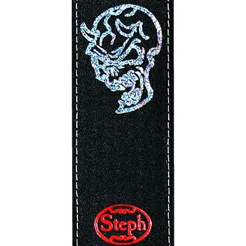 Steph - Tracolla per chitarra in pelle, larga 6cm, retro in similpelle, motivo teschio, colore: Nero
