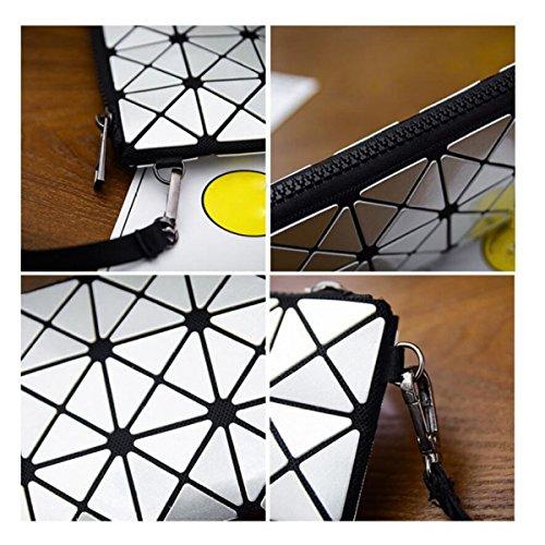 Donne Geometrico Lingge Frizione Paillettes Forma Rhinestone Pacchetto Sacchetto Del Telefono Cellulare Pieghevoli Laser Piccola Borsa Busta Beigesmall