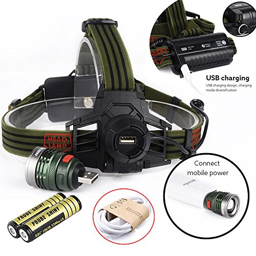 10000lm lampe de poche, Happytop XM-L T6 Zoomable lampe frontale LED rechargeable USB + batterie, Homme femme, Headlamp+USB+Batteries