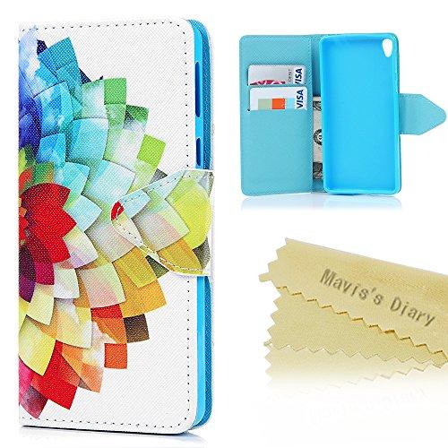 Mavis's Diary Sony Xperia E5 PU Ledercase Tasche Gemalt Bunt Blumen Muster Hüllen Schutzhülle Scratch Magnetverschluss Telefon-Kasten Handyhülle Standfunktion Handycover Gehäuse Muschel
