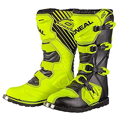 Men's Motorcycle Boots O'NEAL Rider Adult Motocross Motorbike Quad Dirt Bike Off Road Enduro Boots in Hi-Viz Yellow (EU 46 / UK