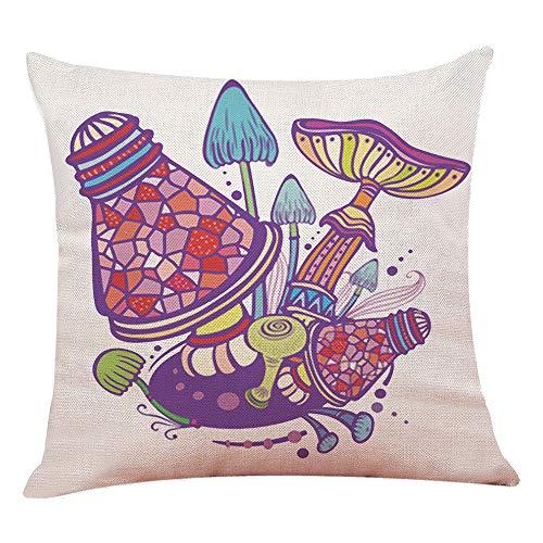 Champignon Maison Imprimé Taie d'oreiller en lin Couvre-lit Taie d'oreiller Housse de coussin décoratif carré Taies d'oreiller pour Home Kids 'Lit Décor