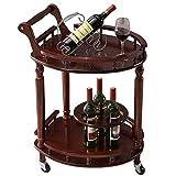 Massivholz Weinregal mit Rädern Kicthen Bar Esszimmer Tee Weinhalter Servierwagen Möbel Küche Bad Trolley 63 x 52 x 82 cm