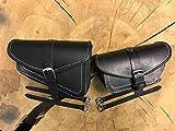 Muscle Black & White Satteltaschen Set von Orletanos Bikertaschen Night Rod Harley Davidson V Rod V-Rod farbige Nähte HD Street Custom schwarz
