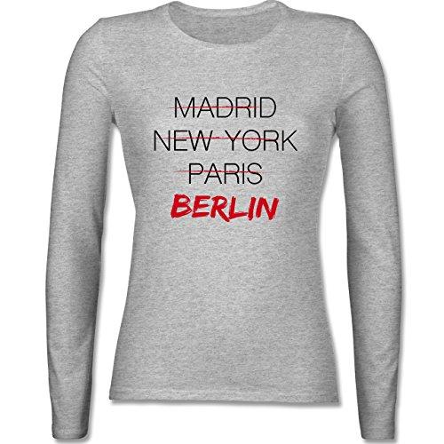 Städte - Weltstadt Berlin - tailliertes Longsleeve / langärmeliges T-Shirt für Damen Grau Meliert