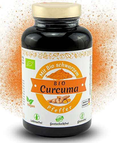 Bio Kurkuma Kapseln hochdosiert mit Bio schwarzem Pfeffer - 180 Curcuma Kapseln vegan - 4320 mg pro Tagesdosis - Bio zertifiziert und Laborgeprüft - Hergestellt in Deutschland