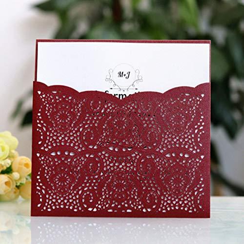 Dodom Blue Burgund Taschen einladungen Elegantes floral laserschneiden für Hochzeit & verlobungsfeier bieten drucken, Burgund, laserschneiden Karte (Burgund Hochzeit Einladungen)