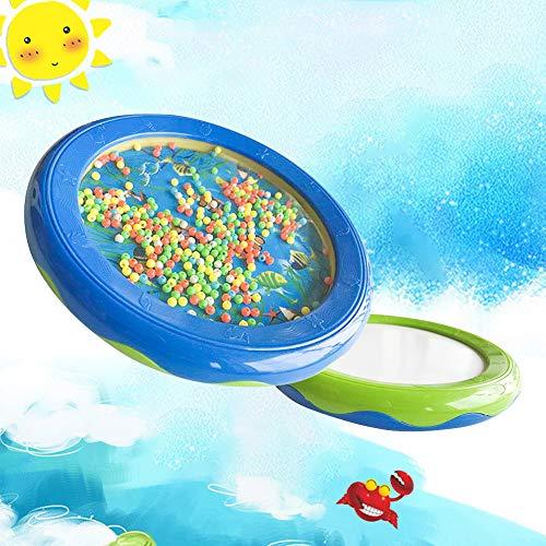 0Miaxudh Ocean Sound Drum, Meeresfisch Muster Tamburin Sea Sound Bead Drum Musikinstrument Kinder Spielzeug - Blau + Grün