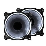 EASYDIY 120mm LED Silent Fan für PC, Gehäuse-Kühler und Radiatoren Flüsterleise Hohe Airflow Computer Case Fan, 2er-Pack-Weiß