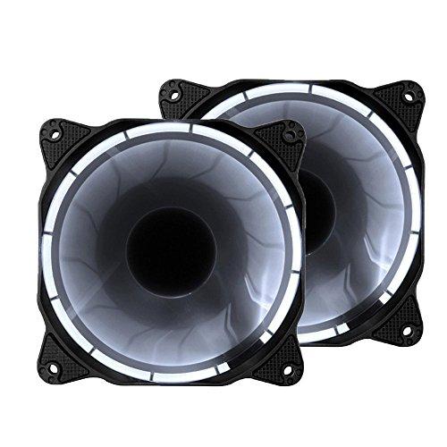 EZDIY-FAB 120mm LED Silent Gehäuselüfter für PC, Gehäuse-Kühler und Radiatoren Flüsterleise Hohe Airflow Computer Gehäuselüfter, 2er-Pack-Weiß