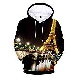 Leon's shop 3D Hoodie,Digitaldruckpaar-Baseballuniform mit Taschen Verdickte Lichter Blinkender Eiffelturm, L