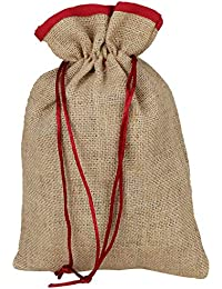 KS Unisex Brown And Red Jute Lunch Bag (KS03)