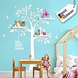 Grandora W5504 Wandtattoo Wandsticker Wandaufkleber Baum mit Vögeln und Vogelkäfig Kind Kinder Baby Babys Kinderzimmer weiß (BxH) 108 x 160 cm