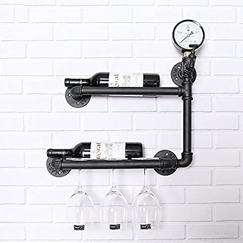 casier à bouteilles Wine Rack Vintage Fountain industriel Bar Bar Wine Rack Mur mural Cadre décoratif Rack de vin Rack Rack casiers à