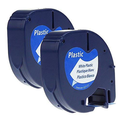 2PK Etikettenband Kunststoff Selbstklebend, 91221 S0721660 Schriftbandkassette Kompatibel für Dymo LetraTag Etikettiergeräte LT-100H LT-100T LT-110T QX 50 XR XM 2000 Plus Schwarz auf Weiß 12mm x 4m (2 Jahre Garantie)
