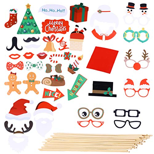 Bestoyard natale photo booth puntelli natale bomboniere decorazioni forniture selfie photo puntelli 40 pz