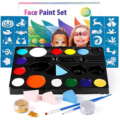 Amzdeal trucchi per truccabimbi colori trucco viso bambini pittura facciale 14 colori con 2 glitter e 4 spugne e 2 spazzole e 30 stencil per halloween, natale, pasqua