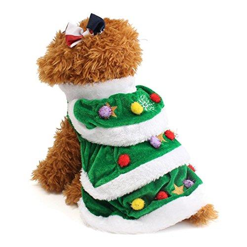 Imagen de ropa para perros, internet árbol de navidad mascota perro abrigo de gato ropa de suéter cachorro disfraces ropa linda verde, xl