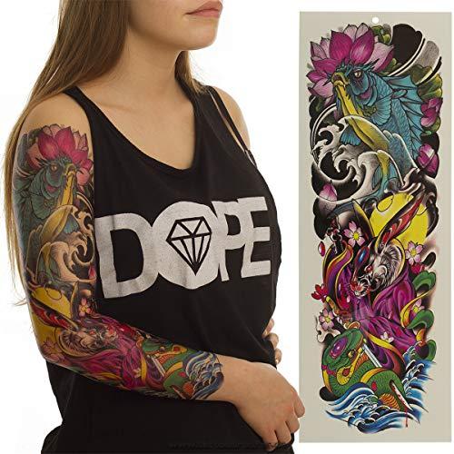 1 x Arm XXL Tattoo - Karpfen Hase Schlange - Buntes Arm Bein Körper Haut Tattoo TQB052 (1)