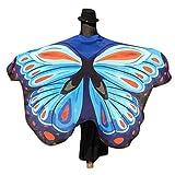 Ailes Papillon Adulte,Yannerr Soft Tissu Femmes Nouveauté Papillon Ailes Shawl Fairy Nymph Pixie Costume Accessoire (Taille: 197 * 125CM, Bleu ciel)
