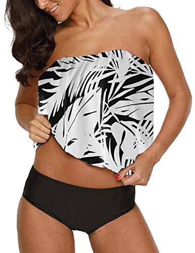 Chenghe Damen Blouson Tankini Top Hohe Taille Moderate Hose zweiteilig Badeanzug - - Medium (38-40) Taille Blouson
