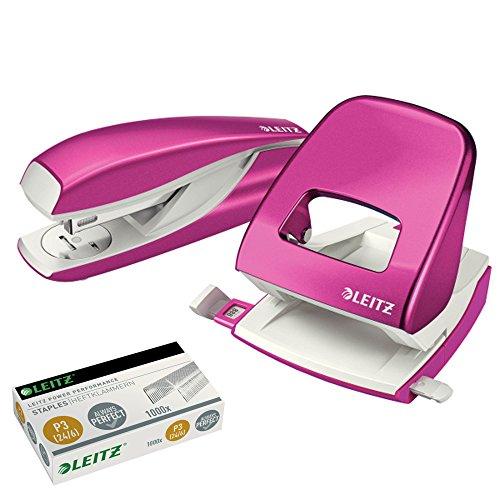 Leitz 5008 NeXXt Series Bürolocher, Metall, bis zu 30 Blatt (Set │ pink)