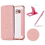 Coque Galaxy S6 Edge Clapet, Paillettes Housse Étui en Cuir pour Samsung S6 Edge, Herzzer Luxe Bling Glitter PU Leather Case avec Transparente Crystal Clair TPU Silicone Placage Technologie Backcover Protector Fonction Stand et Fente Carte Bumper pour Samsung Galaxy S6 Edge - Rose Gold
